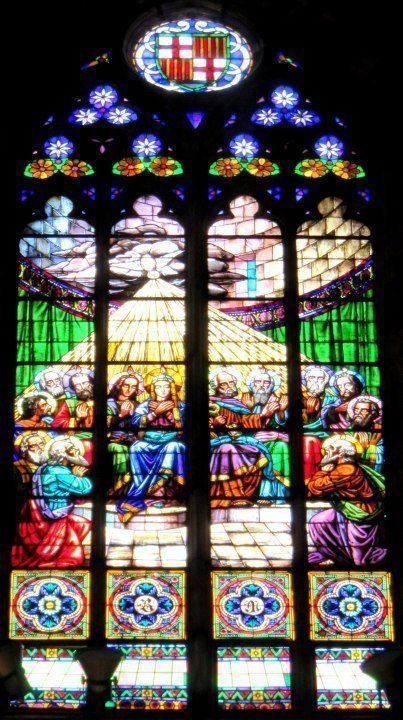 Colorful Stained Glass windows at Basilica Santa Maria del Mar