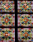 Stained glass detail at Basilica Santa Maria del Mar in La Ribera district near trendy El Born Barcelona
