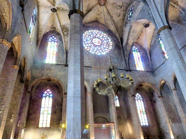 Interior of Basilica Santa Maria del Mar - classic Catalan Gothic architecture in Barcelona