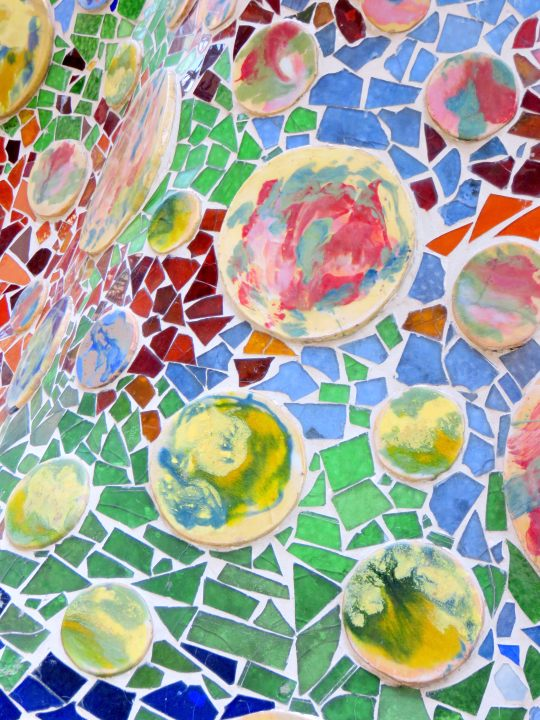 Catalan architect Antoni Gaudi's Casa Batllo trencadis mosaic on terrace - Gracia district of Barcelona Catalonia Spain