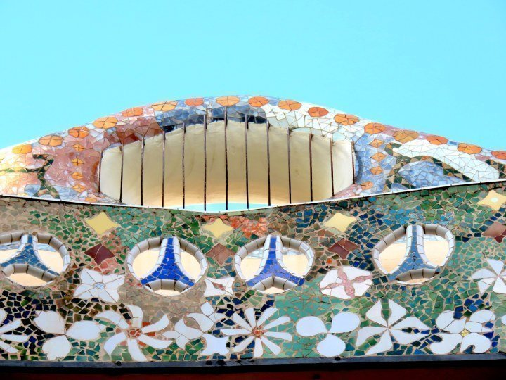 Casa Batllo top floor trencadis mosaics designed by Catalan architect Antoni Gaudi