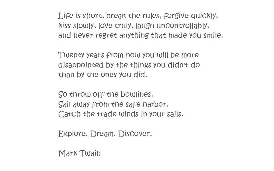 Explore Dream Discover - Mark Twain quote about travel