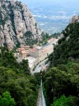 View of Benedictine monastery of Santa Maria de Montserrat - cable car or funicular up the mountain