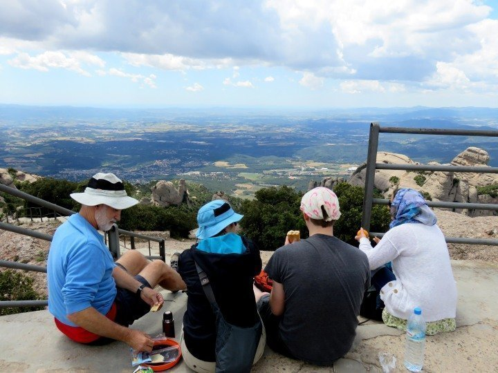 Hiking Spain - hikers at Sant Jeroni summit - Montserrat mountain