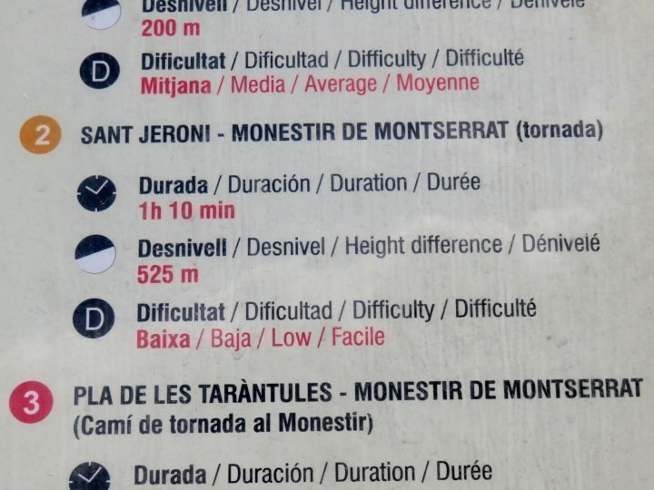 Montserrat Sant Jeroni trail information is posted along the hiking trail - one hour train ride from Barcelona - great day trip