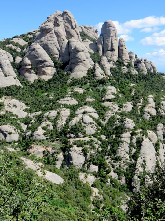 View along Sant Jeroni trail at Montserrat - best day trip from Barcelona - one hour train ride