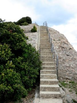 Montserrat - last flight of stairs to the summit of Sant Jeroni - great day trip from Barcelona