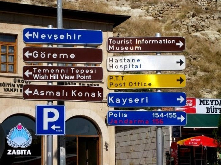 Location signs in Urgup - Central Anatolia region of Turkey