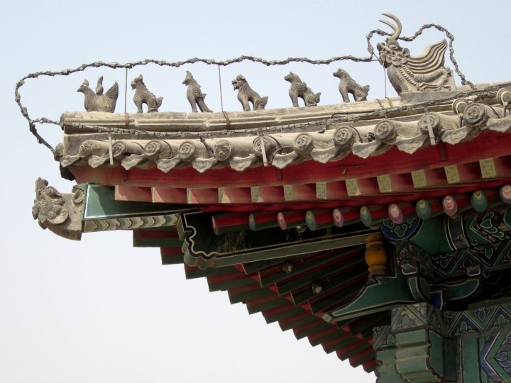 Ancient capital of China - Xi'an - Shaanxi province - gargoyles guarding at city walls