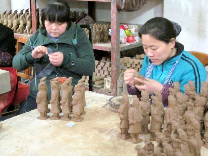 Xi'an China the Walled City and Terracotta Warriors & Horses - making mini terracotta warriors