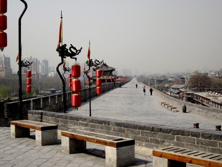 Ancient city walls of historical Xi'an China in Shaanxi province