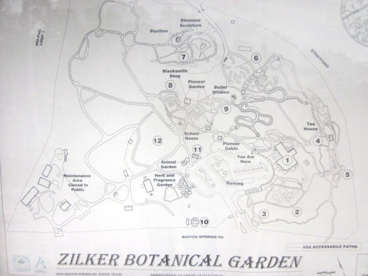 Map of Zilker Botanical Garden in Central Austin TX
