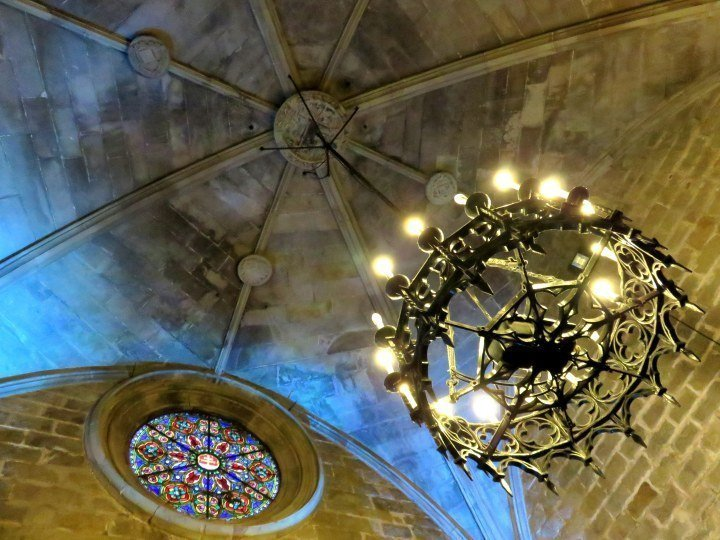 Romanesque and Gothic style architecture at Santa Anna Church in Barcelona - off of Placa Catalunya