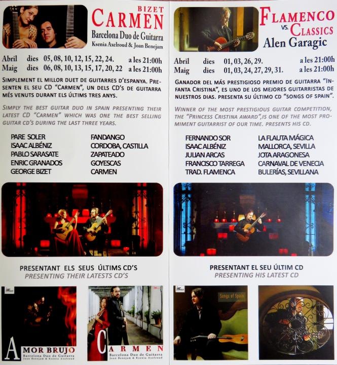 Brochure for classical guitar concerts and flamenco dancing in Barcelona