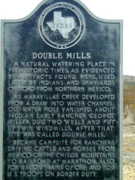 Historical Marker for Double Mills at Big Bend National Park in West Texas near Mexico border