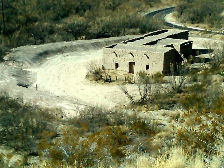 Old building from cotton processing and farming in bygone days - Big Bend National Park