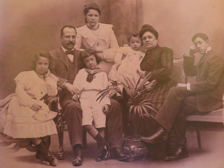 Photo of Batllo family at Casa Batllo - designed by Catalan architect Antoni Gaudi
