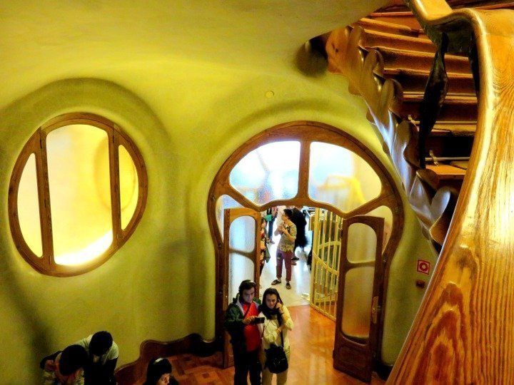 Entrance and curved stairway - Antoni Gaudi's Casa Batllo - project completed 1904 - 1906 in central Barcelona Gracia district