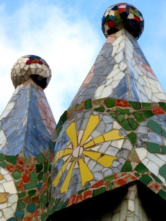 Trencadis mosaic tile chimneys at Casa Batllo designed by Catalan architect Antoni Gaudi - Passeig de Gracia in central Barcelona Catalonia Spain