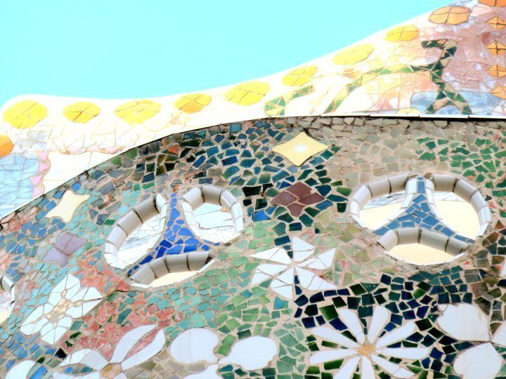 Antoni Gaudi utilized trencadis - broken tile - mosaics often - Casa Batllo in central Barcelona Spain