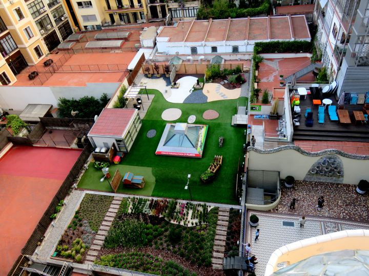 Casa Batllo view of terraces from rooftop - beautiful gardens - trencadis mosaic tile - Antoni Gaudi