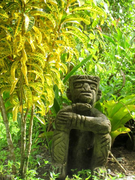 Statue at Cabinas YaMann in Manzanillo Costa Rica - Caribbean coast vacation relaxation