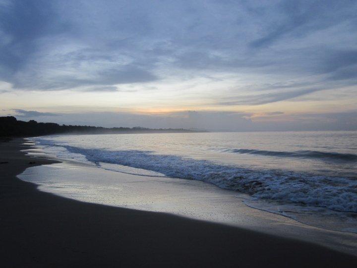 Sunset along the beach of Manzanillo Costa Rica on the Caribbean coast