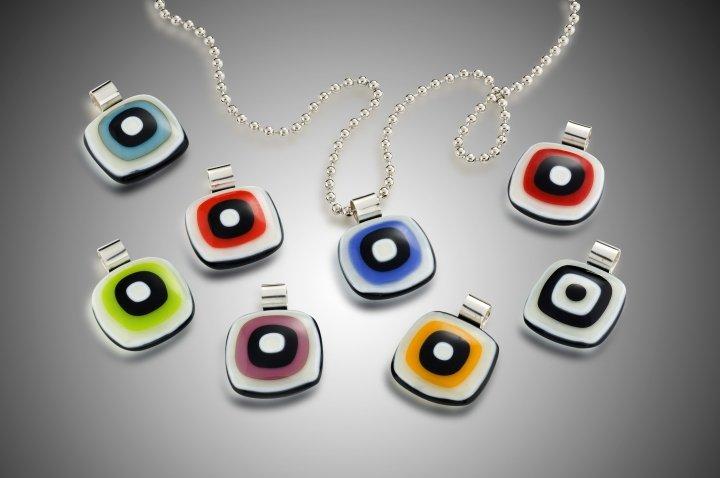 I Spy pendants - Kiln formed glass handmade by Susan Moore Kiln Fired Art Glass in Austin, TX USA - photo by Hap Sakwa