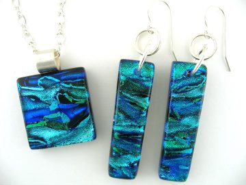 Glass pendant and earrings - Susan Moore Kiln Fired Art Glass - glass fused in kiln at 1500 degrees F