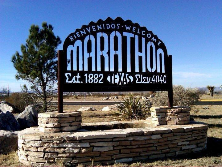 Welcome - Bienvenidos Marathon Texas - sign welcoming visitors - near Big Bend National Park in West TX