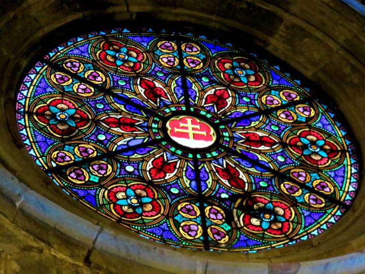 Stained glass window at Santa Anna Church in Barcelona's Barri Gotic neighborhood - Catalonia Spain