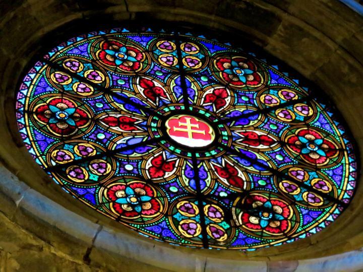 Stained glass window at Santa Anna Church in Barcelona's Barri Gotic neighborhood - Catalonia Spain