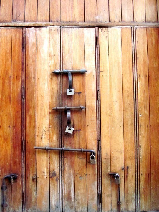 Door with many locks - Cartagena Colombia walled city - UNESCO World Heritage Site $285