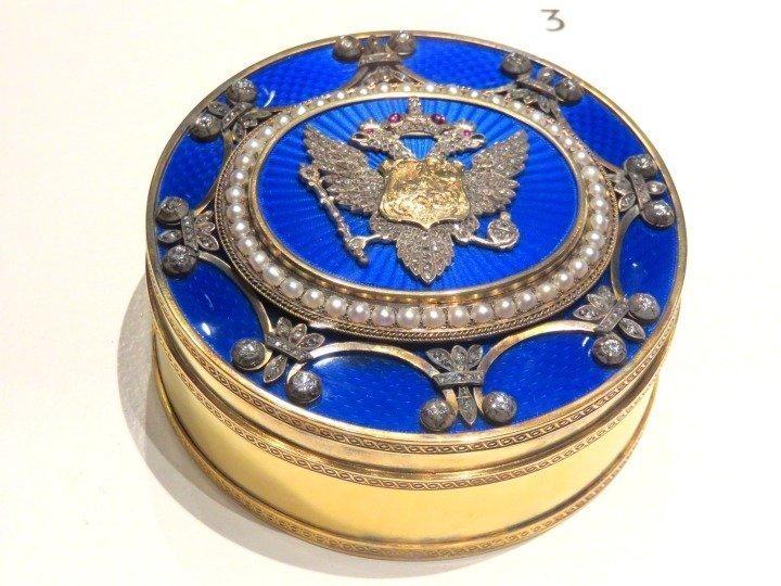 Fabergé forgery - box gold silver enamel diamonds rubies pearls - faux Fabergé