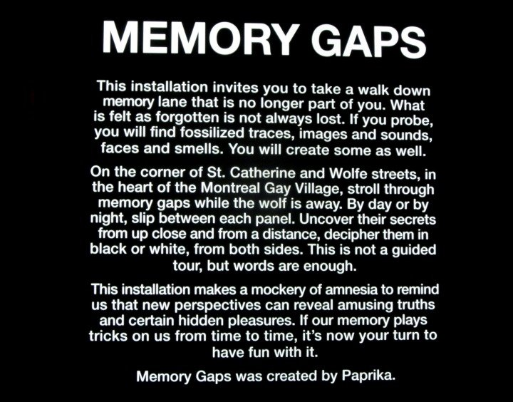 Memory Gaps ingo - public art installation on corner of St Catherine and Wolf Street Montreal Quebec