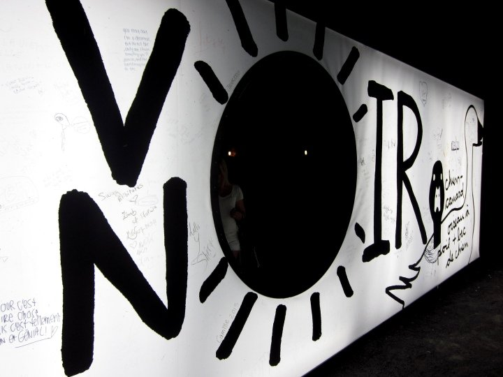 Voir noir (see black) Memory Gaps art installation in Montreal 2013 - panels on display at corner of St Catherine and Wolfe streets