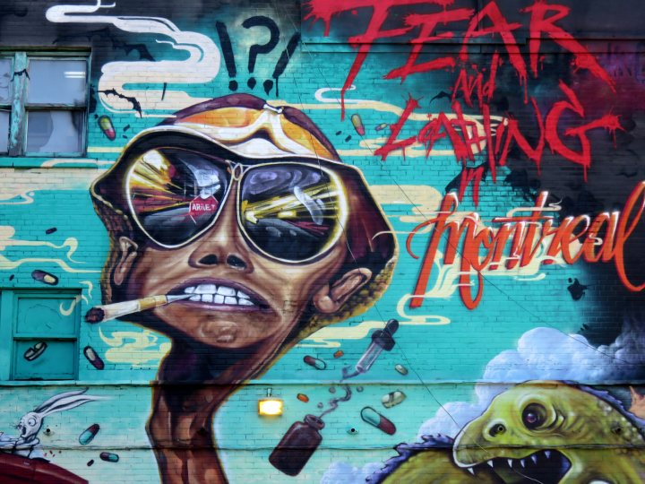 Fear and Loathing in Montreal - street art near St Catherine Street in the Latin Quarter