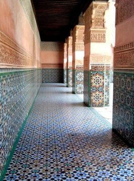 Repeating geometric designs of Islamic art - Ben Youssef Madrasa