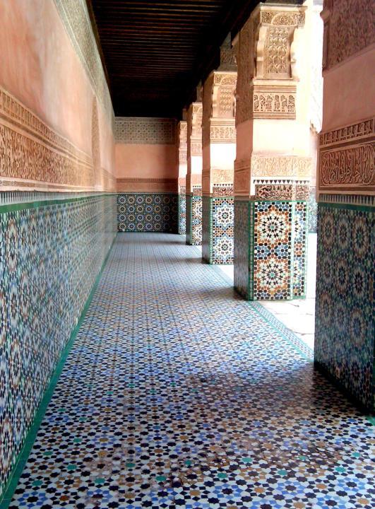Repeating geometric designs of Islamic art - Ben Youssef Madrasa