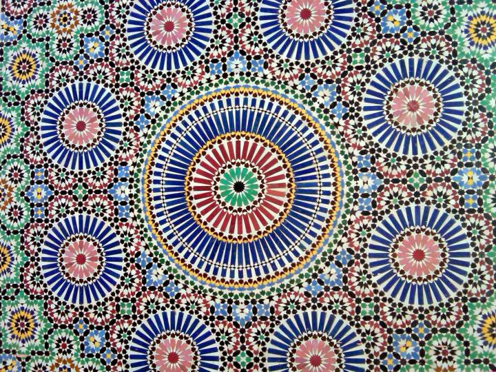 A tourist could get lost in the mesmerizing tile designs in Marrakech Morocco - Marrakech Museum