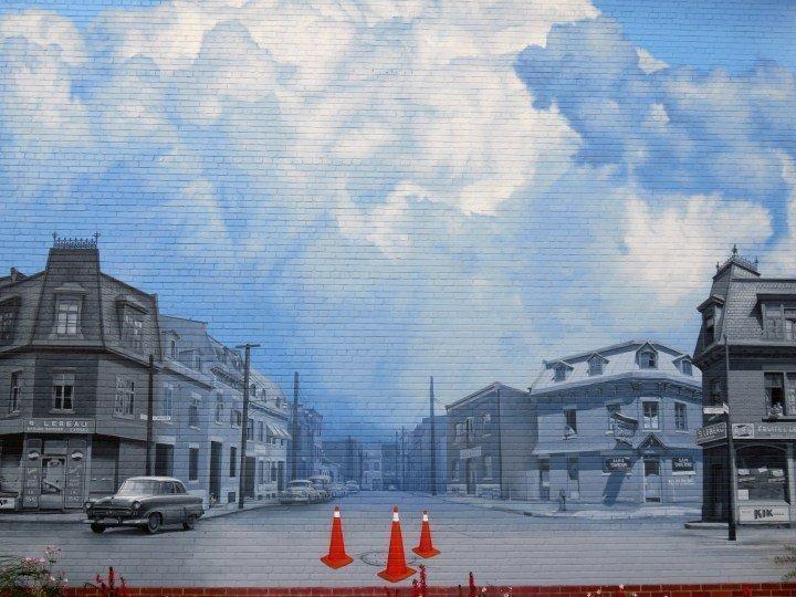 City scene street art mural in Montreal Quebec