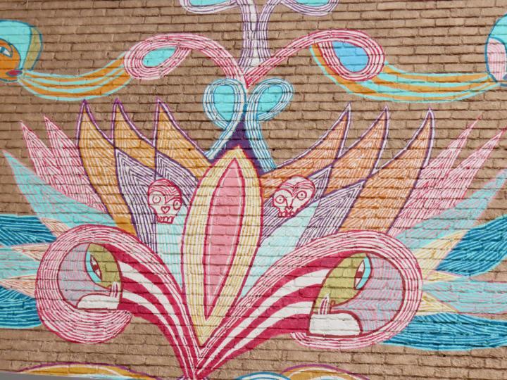 Montreal Quebec whimsical mural along St Denis Street