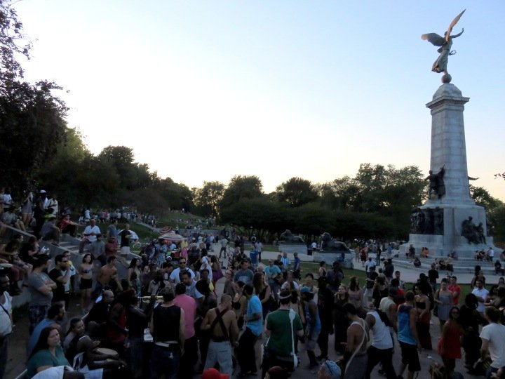 Sunset at Mont Royal Park - Tam Tams free music festival every Sunday afternoon during temperate months - Montreal Quebec