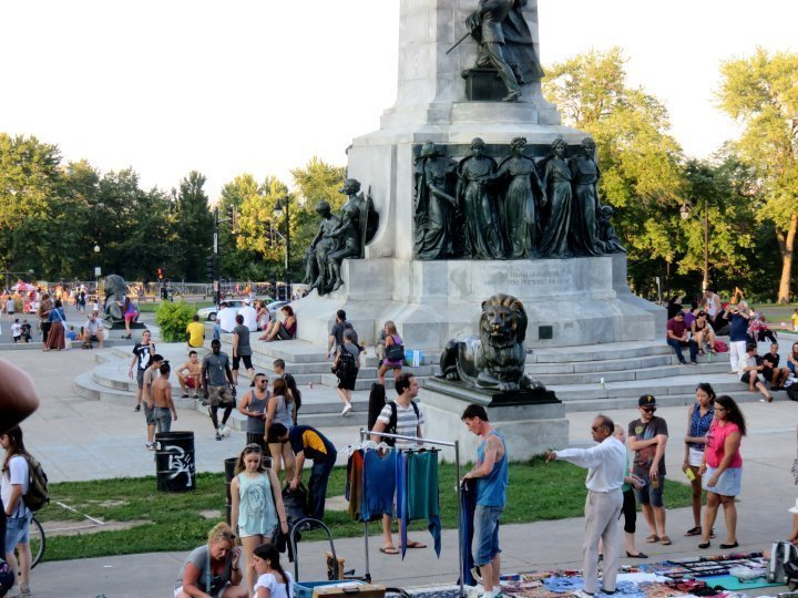 Weekly music happening - Tam Tams at Mon Royal Park in Montreal meet near George-Etienne Cartier Monument