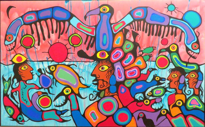 First Nations art at the National Gallery of Canada - Artist and Shaman between two Worlds by Norval Morrisseau - Copper Thunderbird