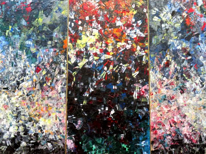 National Gallery of Canada - Contemporary Art in Ottawa - Pavane by Jean Paul Riopelle - oil on canvas triptych 1954
