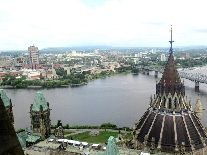 Peace Tower Ottawa view of Gatineau Quebec and Library of Parliament of Canada - saved from fire of 1916 by heavy iron doors