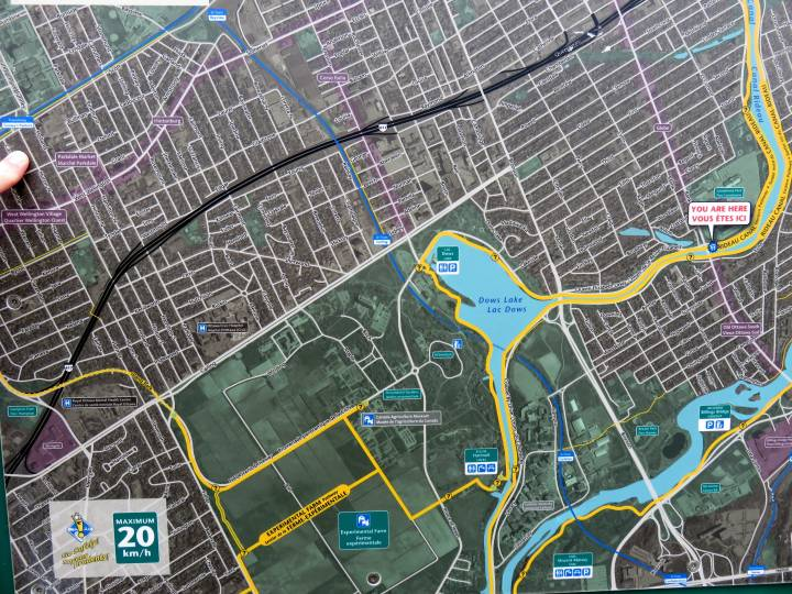 Map of Dows Lake in Ottawa Ontario - pathways are clearly marked from Dows Lake and along the Rideau Canal