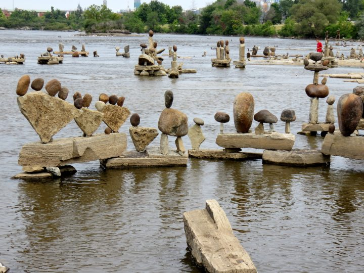 Public Art in  Ottawa - Ottawa River rock art at Remic Rapids - an annual art exhibit outdoors on the western pathway