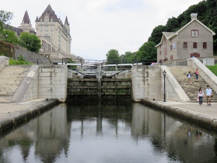 In between Chateau Laurier and Parliament Hill - Ottawa Locks Rideau Canal